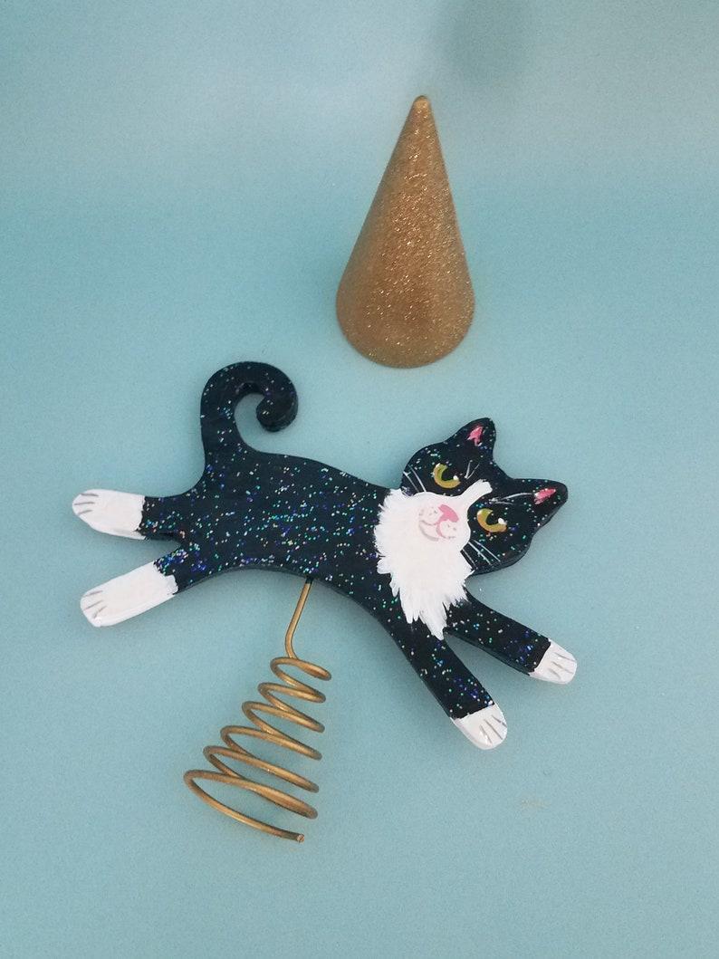 Tuxedo Cat Figurine and Tree Topper   Cat Mini Christmas Tree image 0