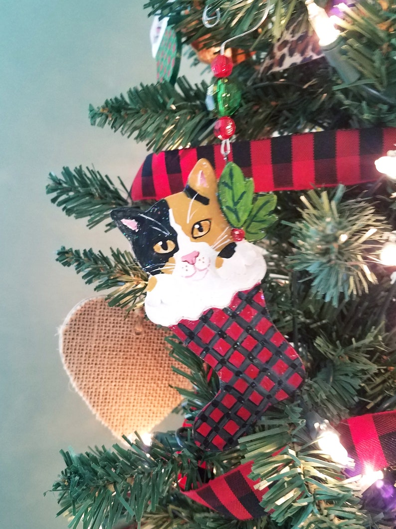 Calico Cat Ornament  Personalized Cat Ornament  Tabby Cat image 0
