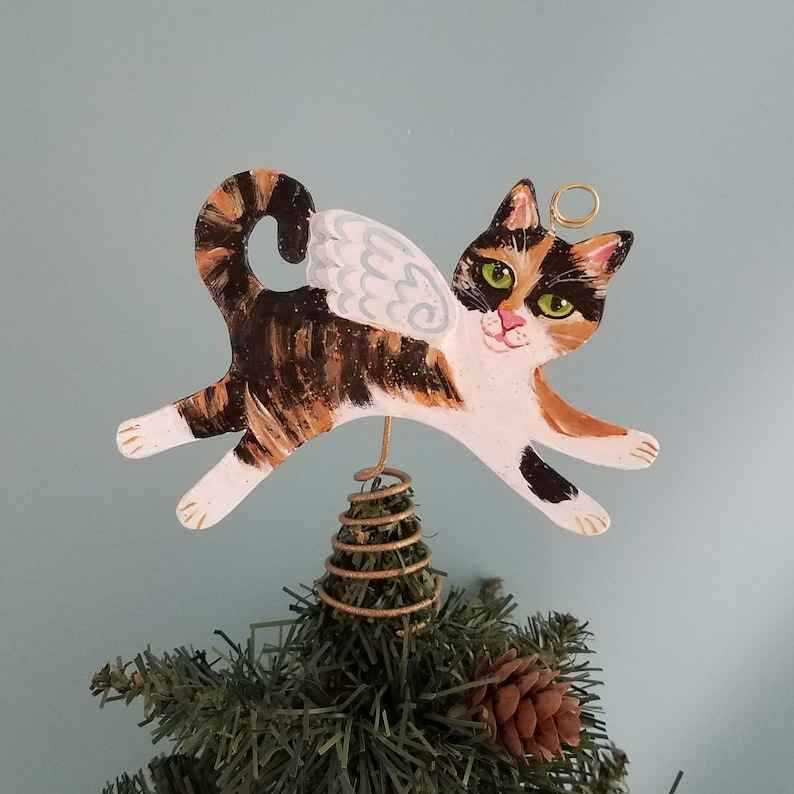 Calico Cat Angel Figurine Tree Topper   Cat Angel Mini image 0