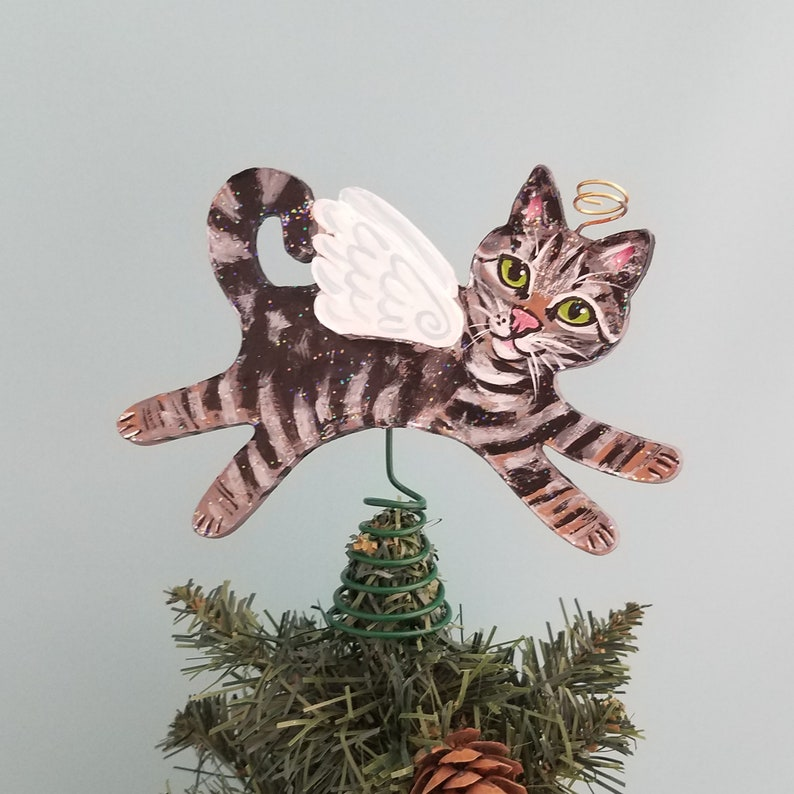 Tabby Cat Angel Figurine Tree Topper   Cat Angel Mini image 0