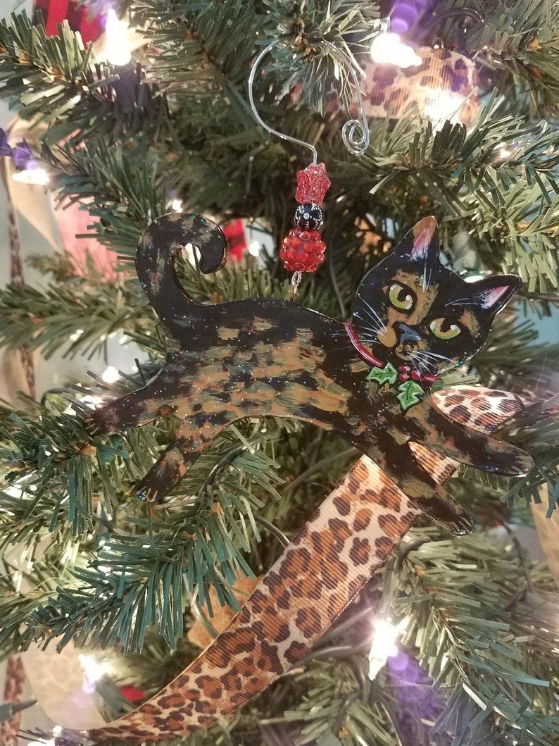 Tortoiseshell Cat Ornament  Personalized Cat Gift  Cat image 0