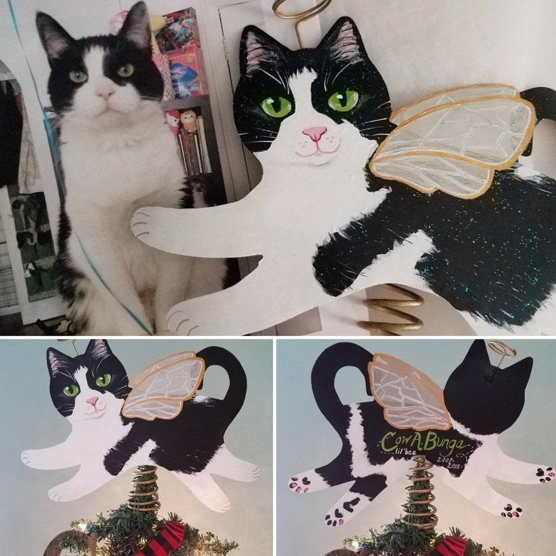 Custom Cat Angel Tree Topper  Cat Memorial Art Personalized  image 0