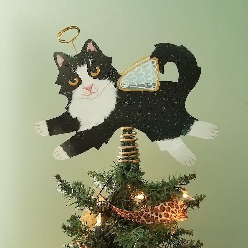 Tuxedo Cat Angel Tree Topper  Cat Christmas Tree Topper  Cat image 0