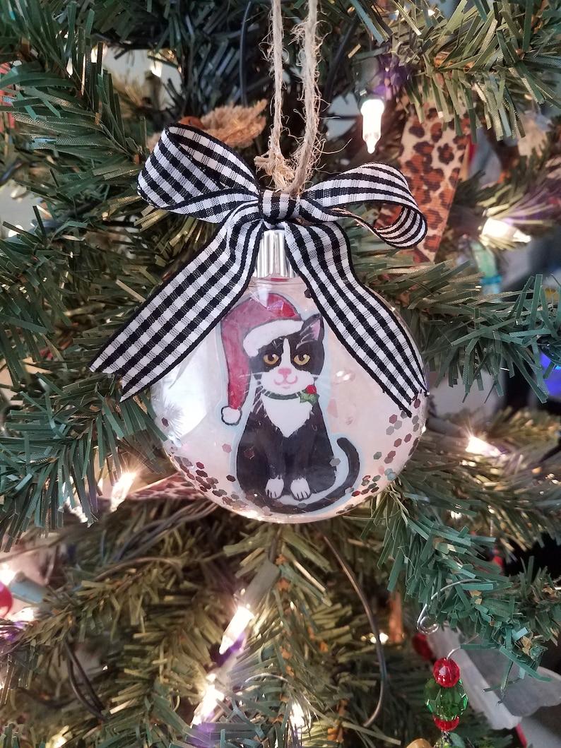 Tuxedo Cat Ornament  Cat Christmas Ornament  Personalized image 0