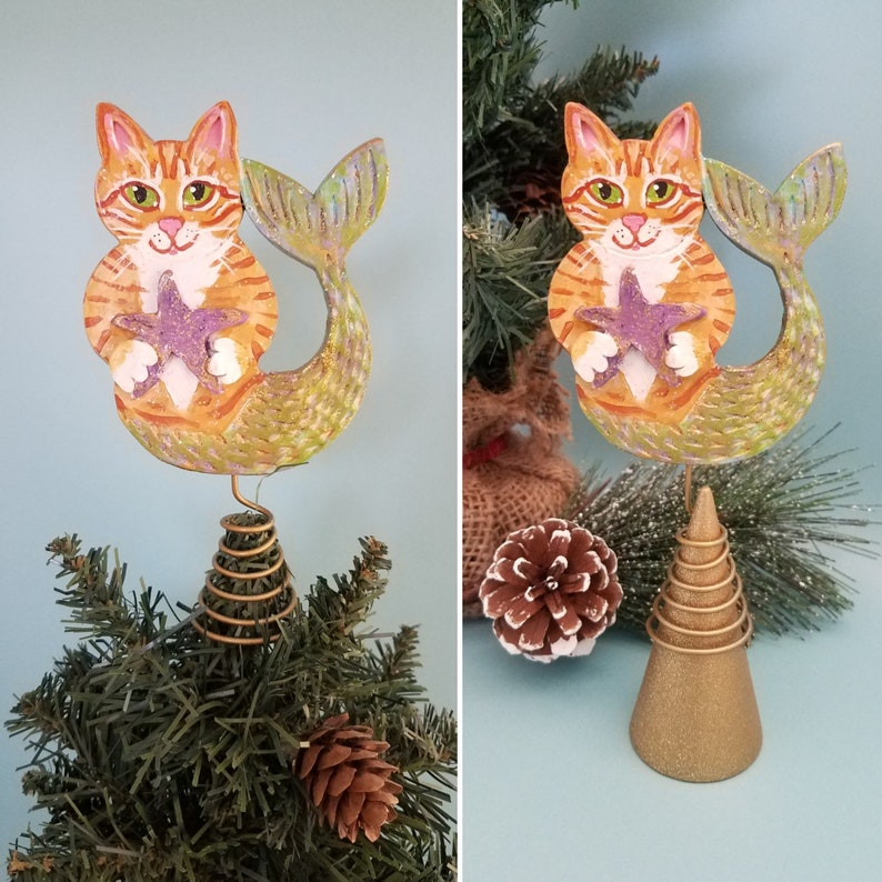 Purrmaid Orange Tabby Cat Figurine and Tree Topper   Cat image 0