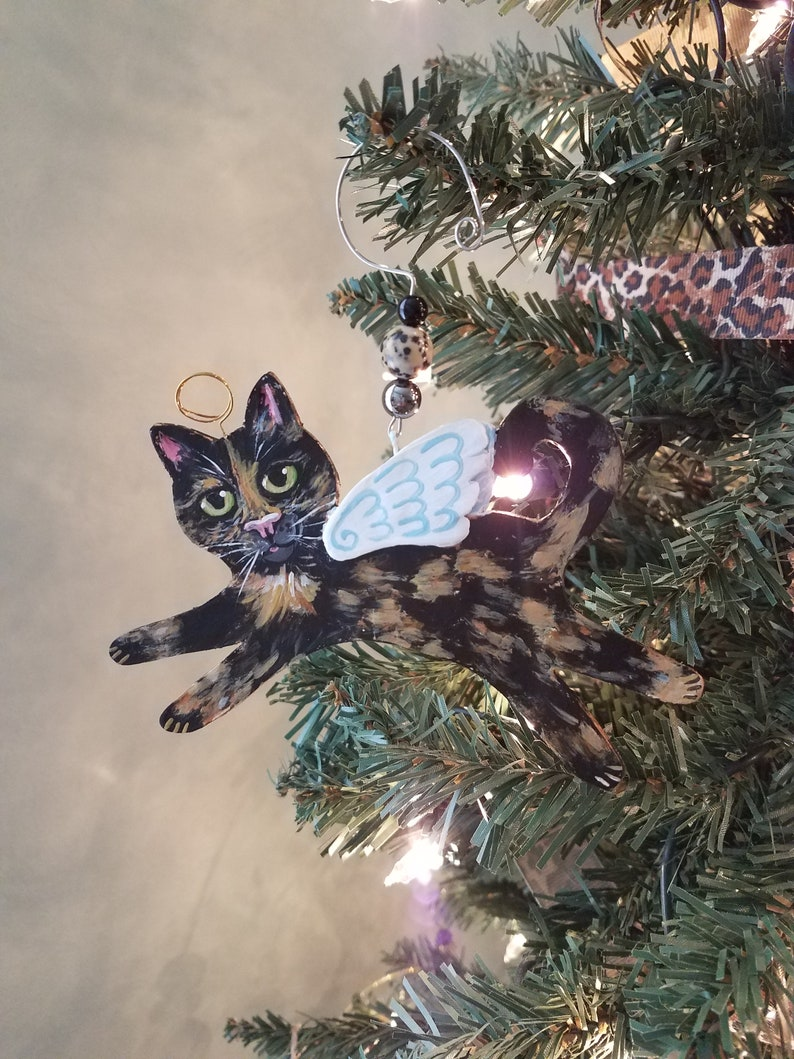 Tortoiseshell Cat Angel Ornament Personalized Cat Gift Cat image 0