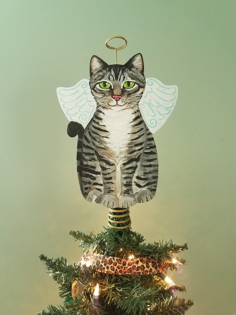 Tabby Cat Angel Tree Topper  Cat Christmas Tree Topper  Cat image 0