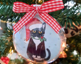 Tuxedo Cat Ornament, Cat Christmas Ornament, Personalized Gift for Cat Lover