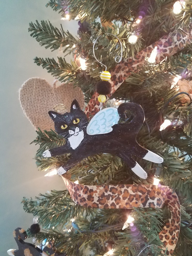 Tuxedo Cat Angel Ornament  Personalized Cat Memorial Gift  image 0