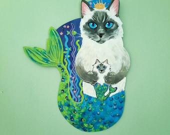 Purrmaid Wall Art, Himalayan Cat and Kitten, Beach Decor, Mermaid Lover Gift