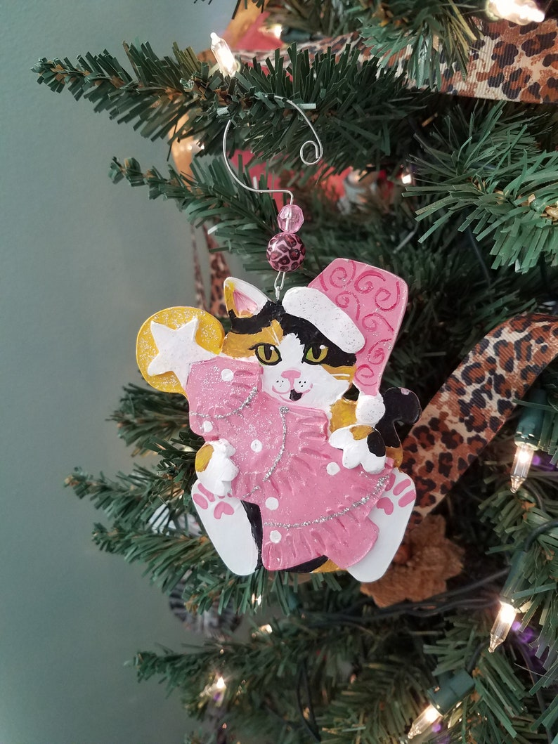Calico Cat Ornament  Pink Christmas Tree Ornament  Cat Lover image 0