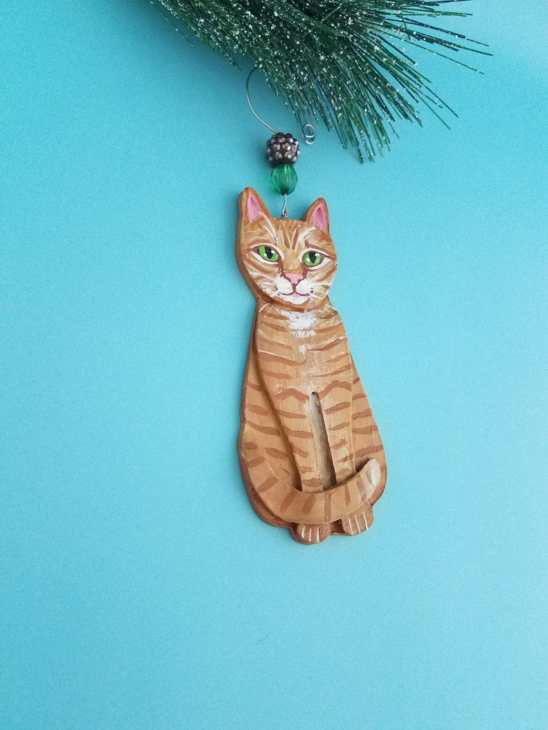 Orange Tabby Cat Ornament  Cat Lover Gift  Personalized Cat image 0