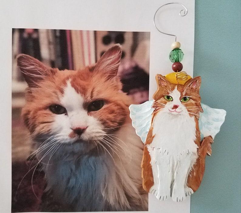 Pet Memorial Ornament Cat Christmas Ornament Family Gift Sitting Up Cat Angel