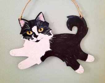 Tuxedo Cat Wall Art, Hand Painted Cat Art
