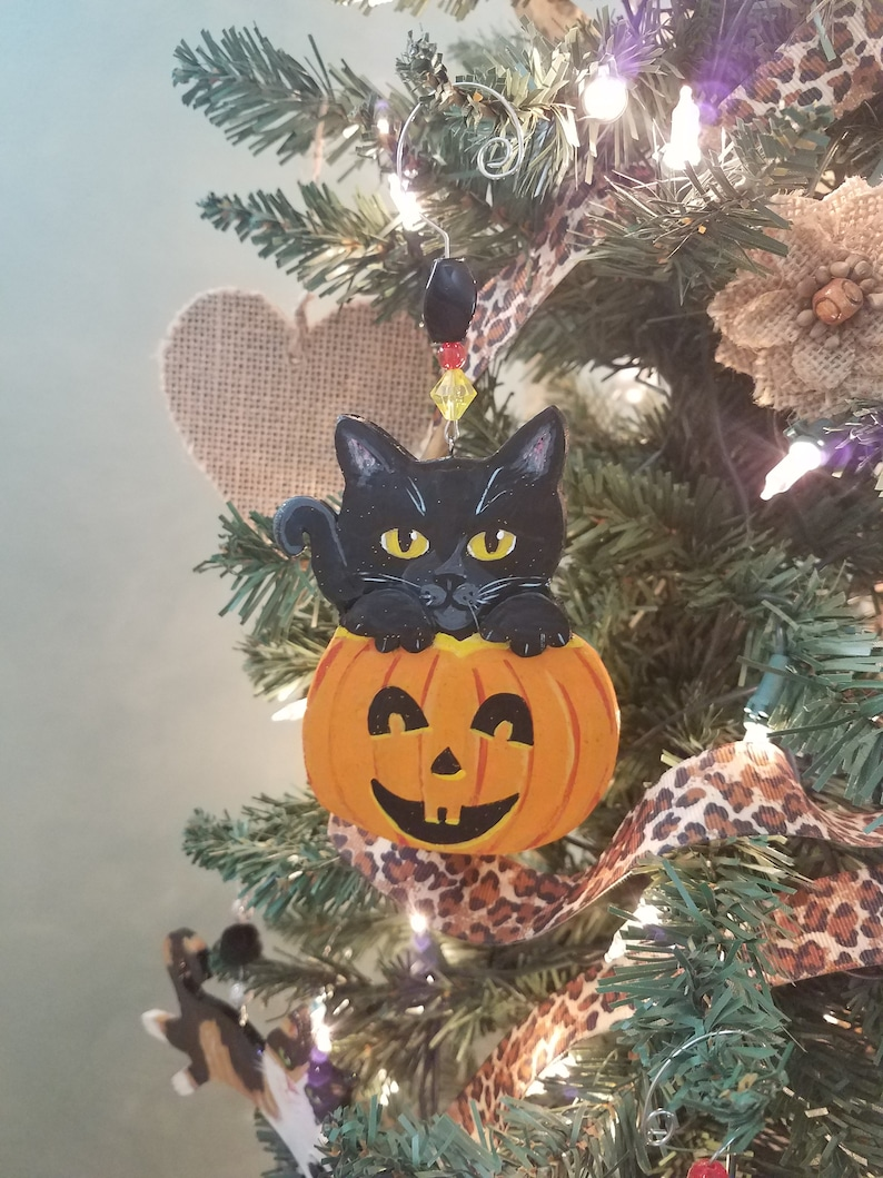 Black Cat Halloween Personalized Ornament  Halloween image 0
