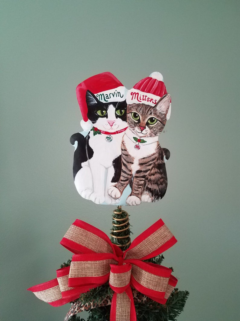 Your Two Cats Christmas Tree Topper  Custom Two Cat Tree 2 Cats with Hats