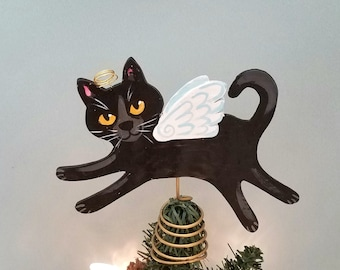 Black Cat Angel Tree Topper - Cat Christmas Tree Topper - Cat Angel - Wine Bottle Topper - Cat Memorial - Cat Decor - Cat Lover Gift
