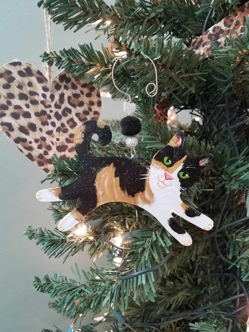 Calico Cat Ornament  Cat Lover Gift  Personalized Cat image 0