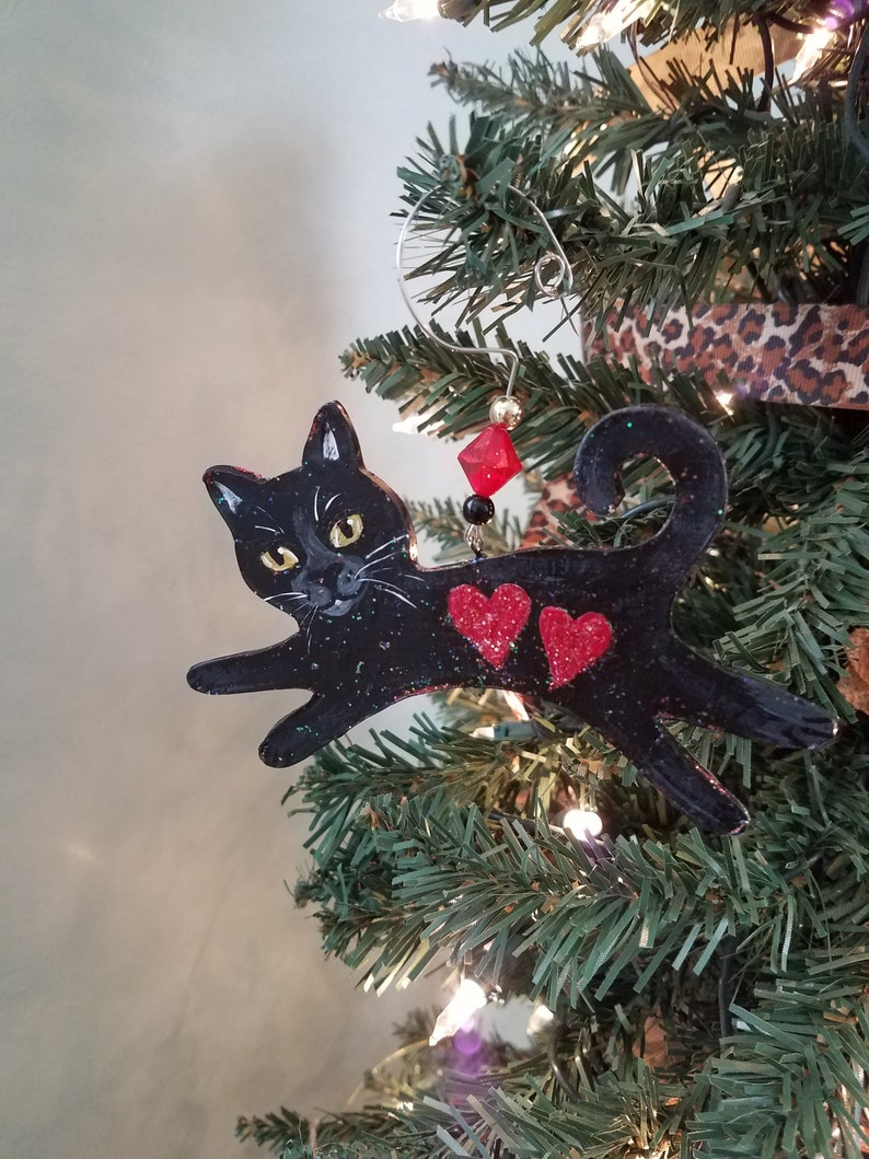 Valentine's Day Cat Black Cat Ornament Personalized image 0