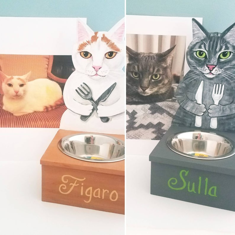 Cat Feeder  Custom Made and Hand Painted of your Cat  Cat image 0