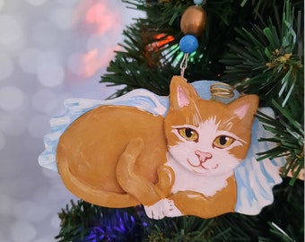 Orange and White Angel Cat, Cat Memorial Ornament, Personalized Cat Gift, Christmas Cat Ornament