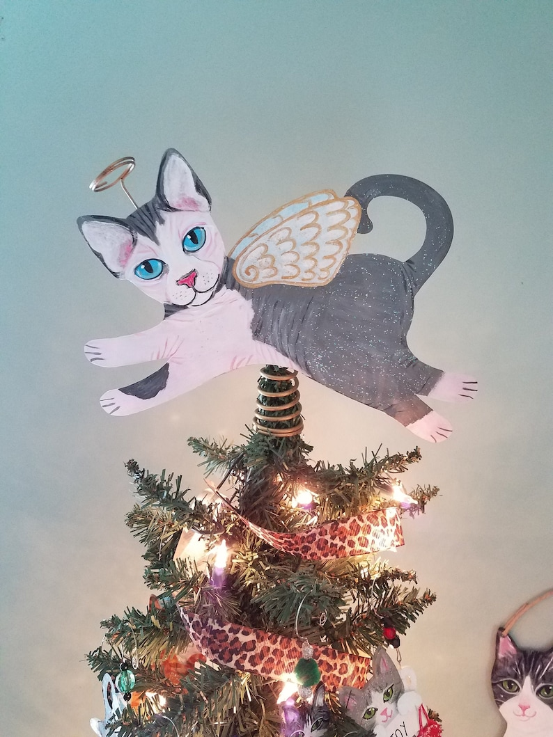 Sphynx Cat Angel Tree Topper  Cat Christmas Tree Topper  Cat image 0