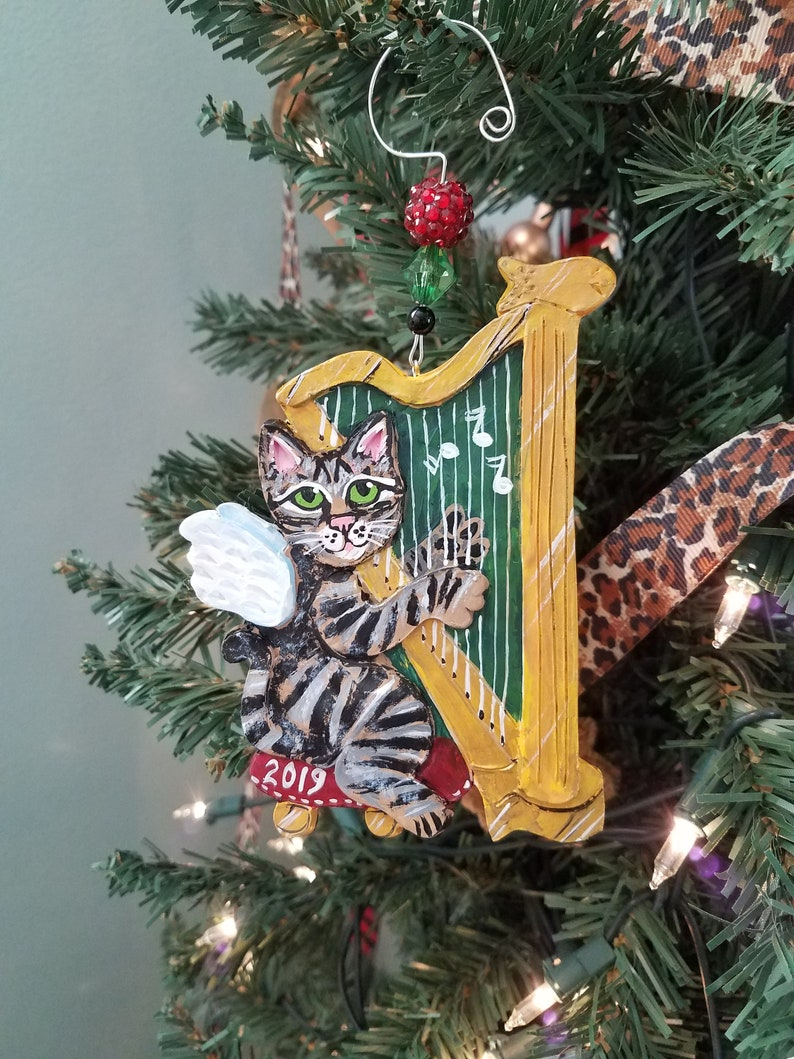Tabby Cat Angel Ornament  Harp Ornament  Musical Ornament  image 0