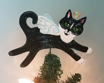 Tuxedo Cat Angel  - Tree Topper - Cat Christmas Tree Topper - Cat Memorial - Cat Decor - Cat Lover Gift