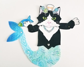 Purrmaid Tuxedo Cat Printable, Articulated Paper Doll, Instant DIY Download
