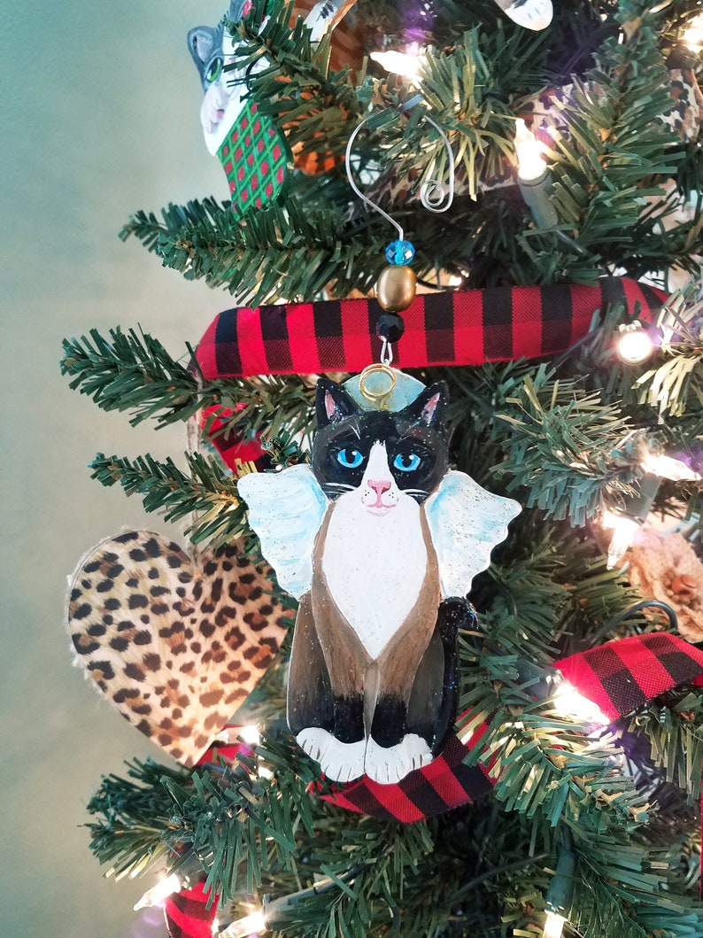 Snowshoe Cat Angel Ornament  Personalized Cat Memorial  Cat image 0