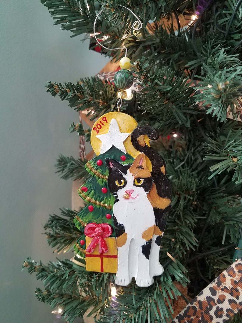 Calico Cat Ornament  Personalized Cat 2019 Ornament  image 0