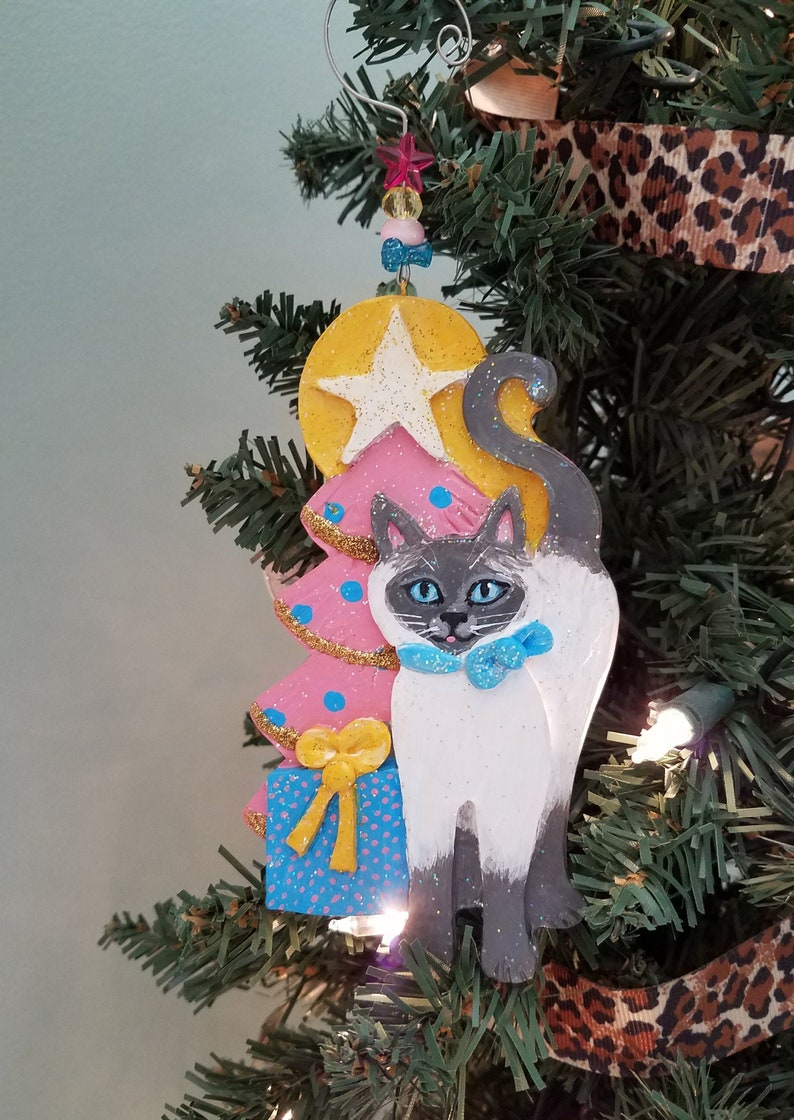 Siamese Cat Ornament  Cat Lover Gift  Personalized Cat image 0