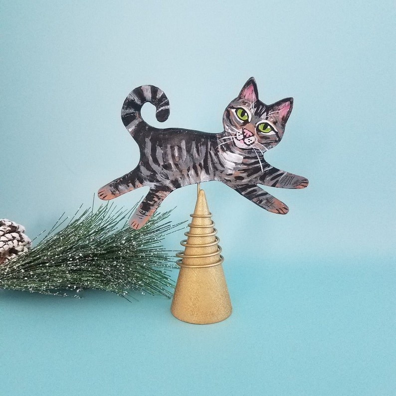 Tabby Cat Figurine and Tree Topper   Cat Mini Christmas Tree image 0