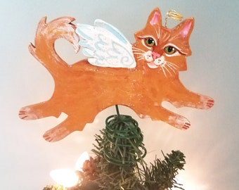 Ginger Cat Angel  - Tree Topper - Cat Christmas Tree Topper - Cat Memorial - Cat Decor - Cat Lover Gift