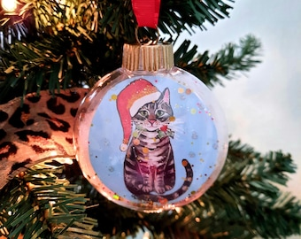 Tabby Cat Ornament, Cat Christmas Ornament, Personalized Gift for Cat Lover