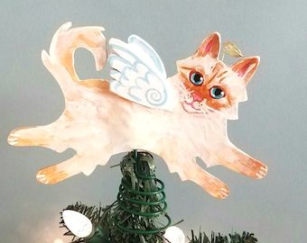 Cat Angel Tree Topper - Cat Christmas Tree Topper - Flame Point Cat - Wine Bottle Topper - Cat Memorial - Siamese Cat Decor - Cat Lover Gift