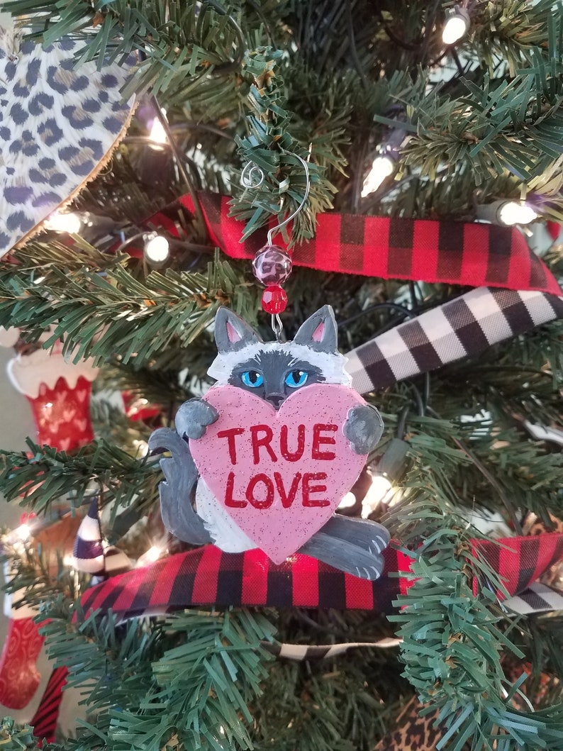 Valentine's Day Cat Ornament True Love Heart Himalayan image 0