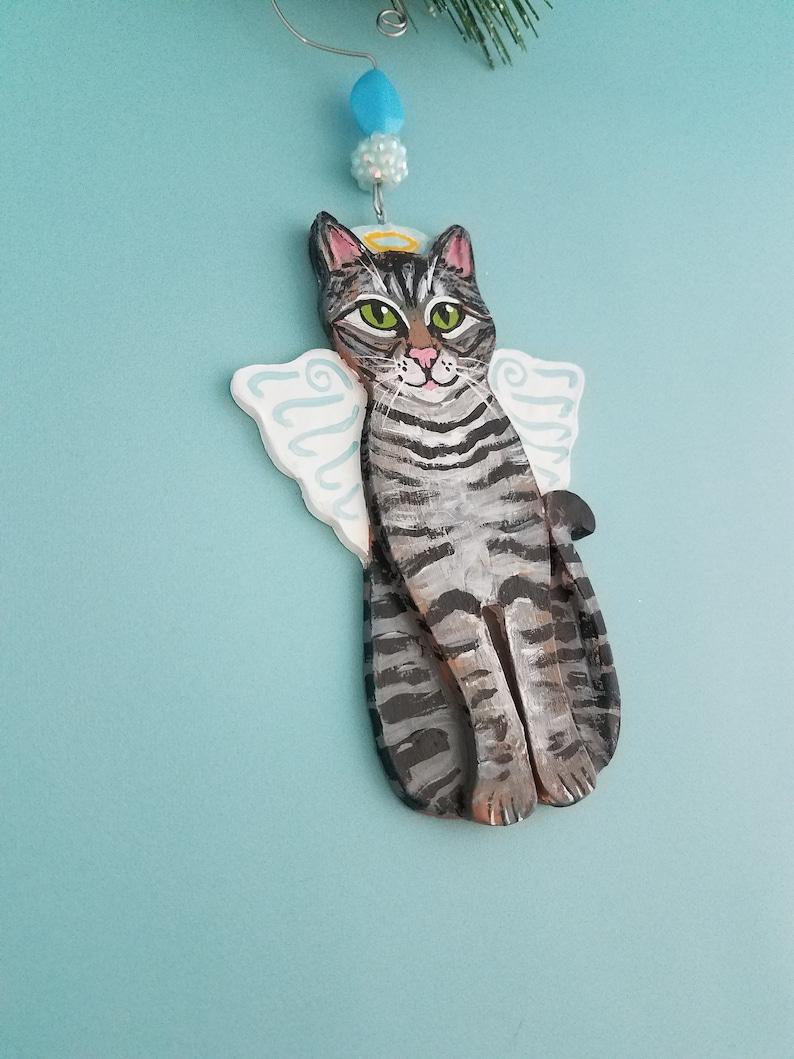 Tabby Cat Angel Ornament  Personalized Cat Memorial  Cat image 0