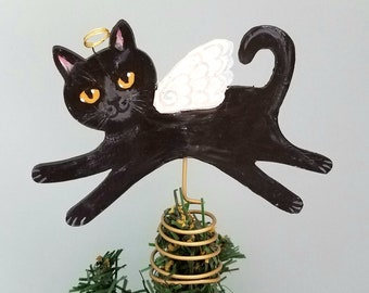 Black Cat Angel Tree Topper - Cat Christmas Tree Topper - Cat Tree Topper - Cat Memorial - Black Cat Tree Topper - Cat Theme Tree