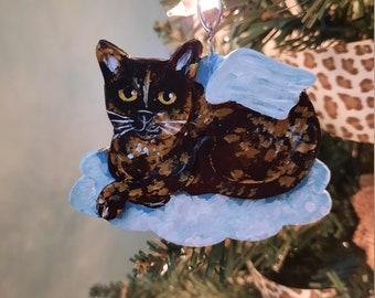 Mini Tortoiseshell Cat Ornament, Personalized Cat Memorial, Cat Christmas Ornament Best for Smaller Trees