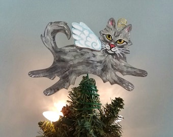 Gray Cat Angel Tree Topper - Cat Christmas Tree Topper - Cat Angel - Wine Bottle Topper - Cat Memorial - Cat Decor - Cat Lover Gift