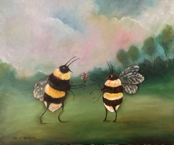 Biene Süßes öl Auf Holz Malen Etsy
