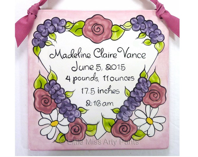 Personalized Birth Plates- Personalized Ceramic Baby Plate- Personalized Baby Plates- New Baby- Heart with Flowers Birth Announcement Plaque