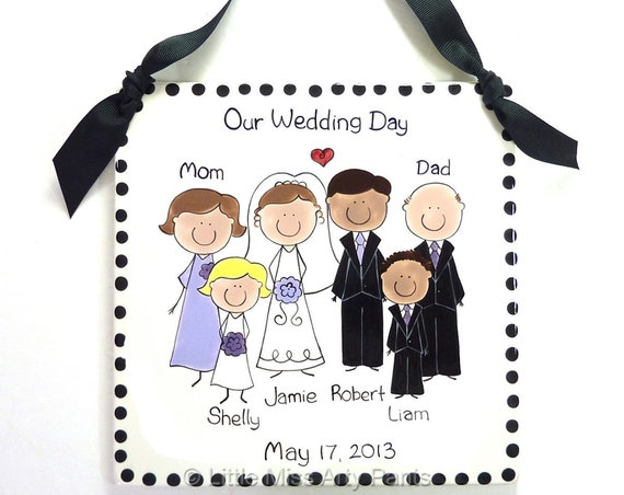 Personalized Wedding Portrait Plaque - Custom Wedding Plaque - Personalized Wedding People Plaque - Personalized Wedding Party Plaque