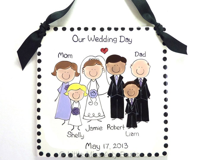 Personalized Wedding Portrait Plaque - Custom Wedding Plaque - Personalized Wedding People Plaque - Personalized Wedding Party Plaque
