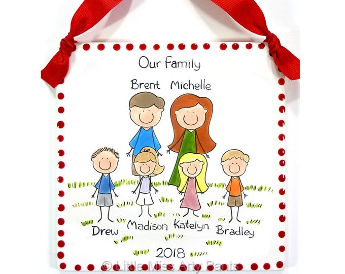 Personalized Family Plaque - Family Portrait Plaque - Custom Family Plaque - Personalized Family People Plaque -