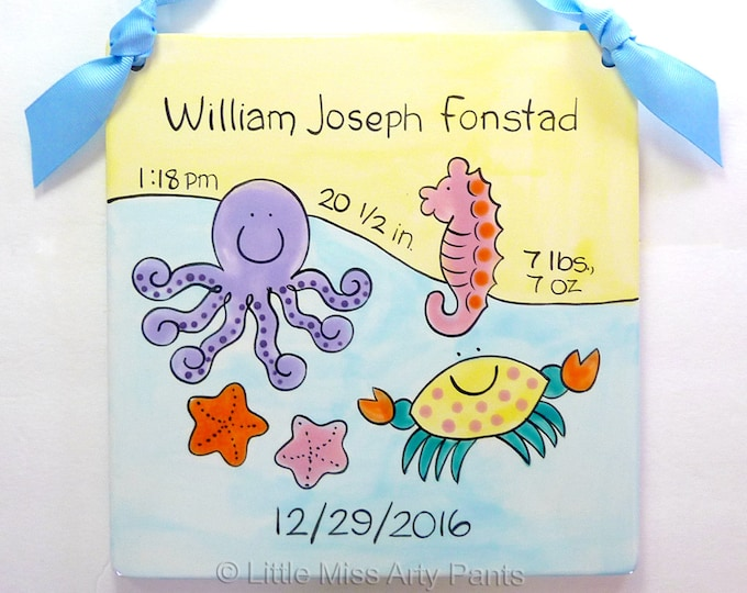 Personalized Birth Plates - Personalized Ceramic Baby Plate - Personalized Baby Plates - New Baby- Sea Baby Design Birth Announcement Plaque