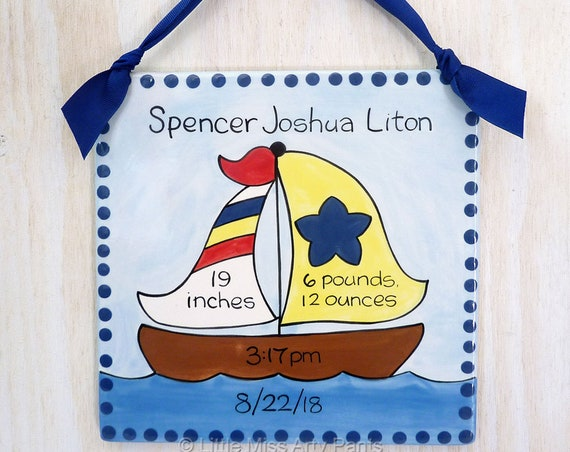 Personalized Birth Plates - Personalized Ceramic Baby Plate- Personalized Baby Plates - New Baby- Sail Boat Design Birth Announcement Plaque