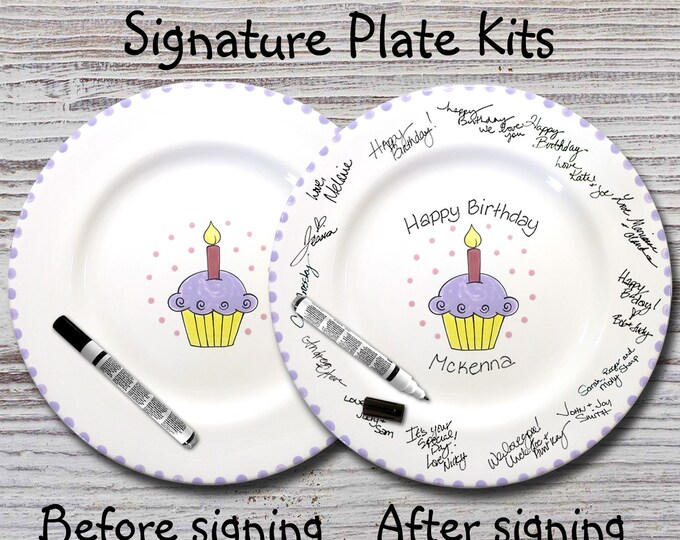 Hand painted Signature Birthday Plate  - Lavender Birthday Cupcake - Happy Birthday Plate - 1st Birthday - Birthday Gift