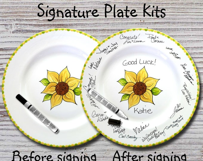 Hand Painted Signature Plate - Sunflower Design - Guest Book Plate